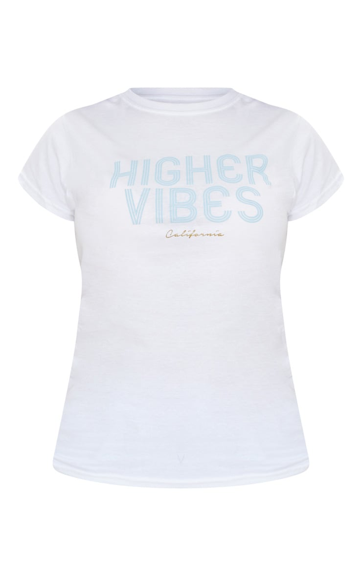 White Higher Vibes Printed T Shirt 5