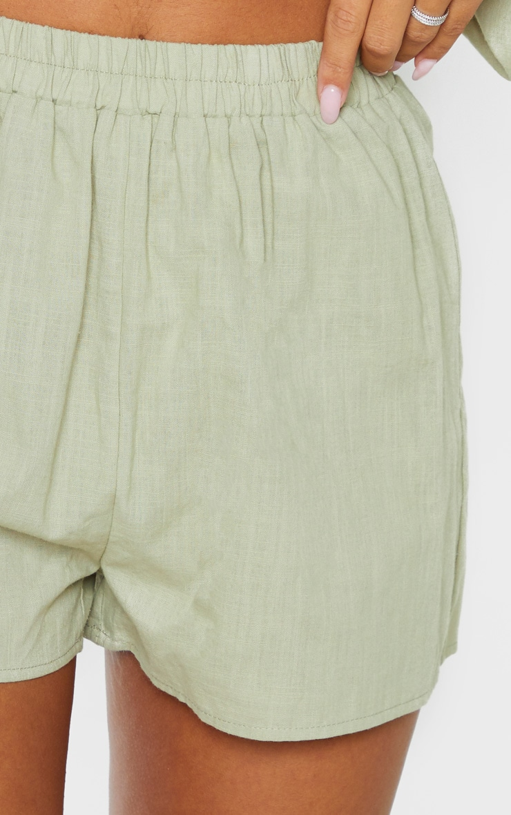 Pale Khaki Linen Look Elasticated Beach Shorts 6
