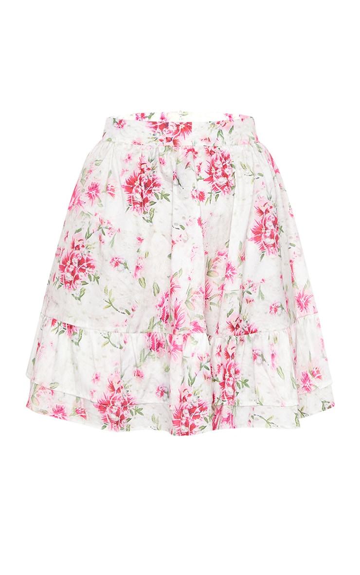 Mini-jupe taille haute à imprimé floral rose et volants 6