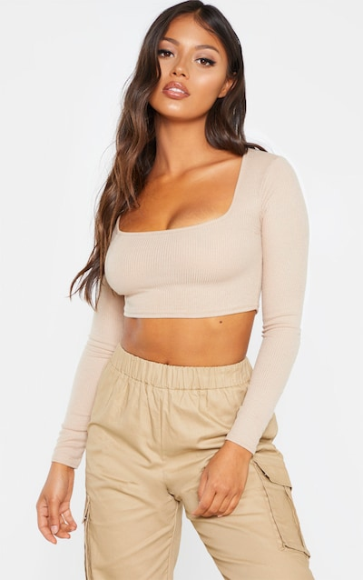5665c042a Petite Stone Square Neck Ribbed Long Sleeve Crop Top PrettyLittleThing  Sticker