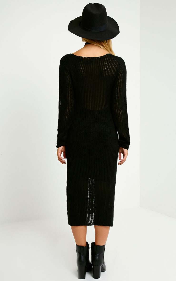 Dellar Black Knitted Long Line Dress 2