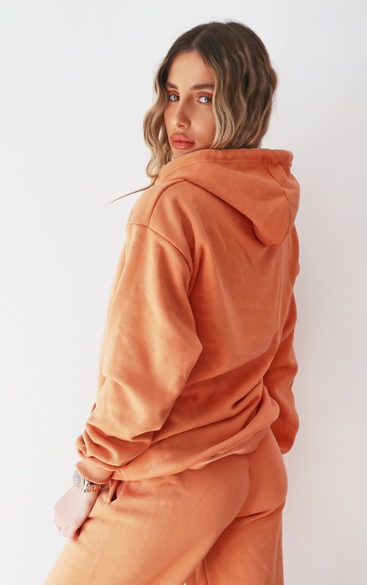 PRETTYLITTLETHING Chestnut Embroidered Slogan Hoodie 2