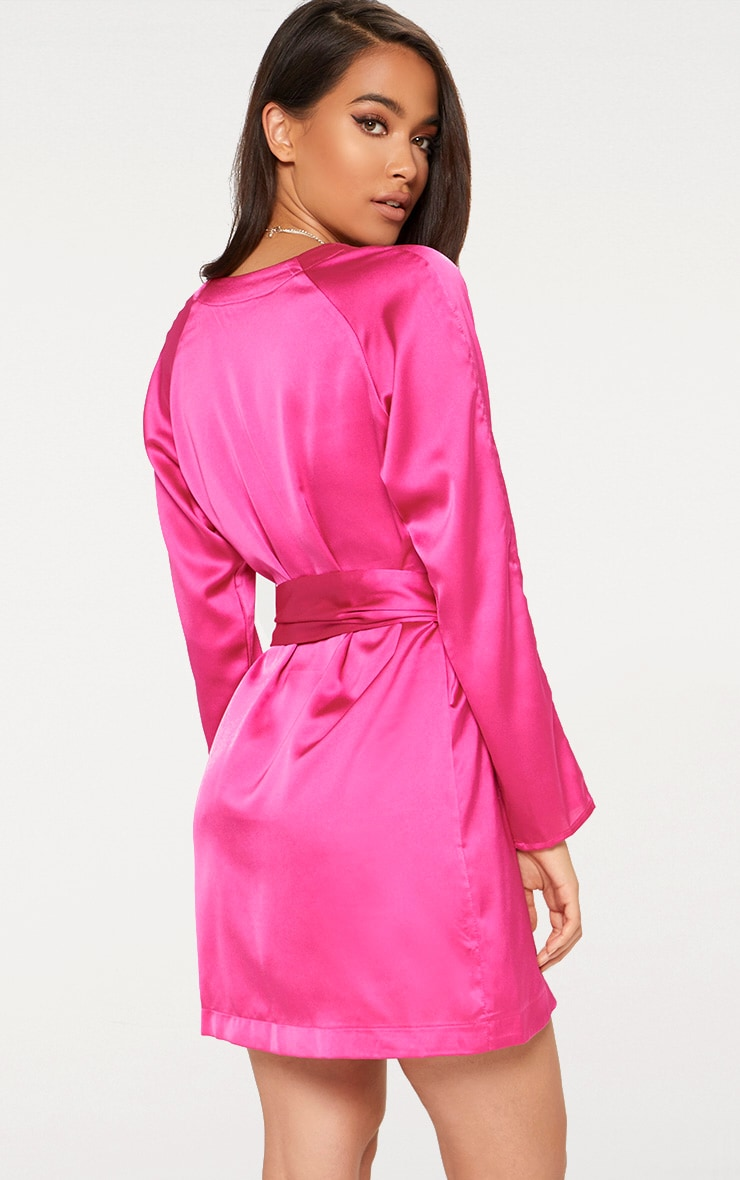 Fuchsia Pink Satin Belted Shirt Dress 2