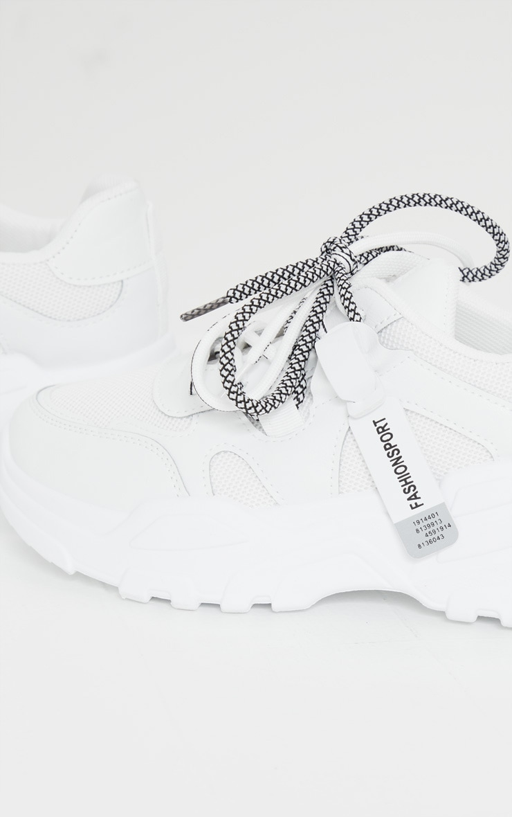 White Hiker Lace Up Panel Detail Chunky Sneakers 4