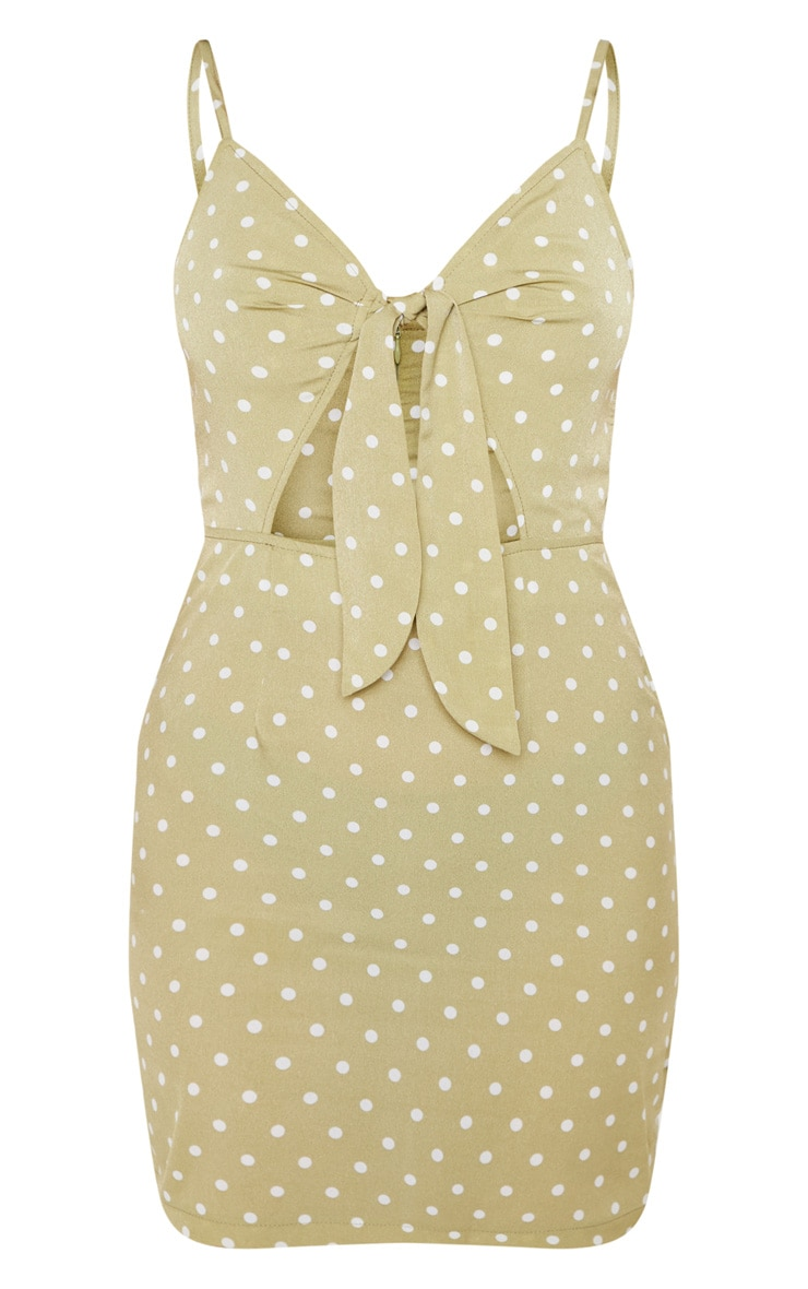 Sage Green Polka Dot Tie Front Button Shift Dress  3