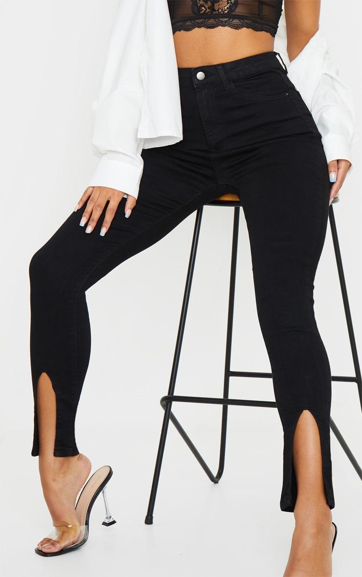Black Front Split Hem Skinny Jeans 4