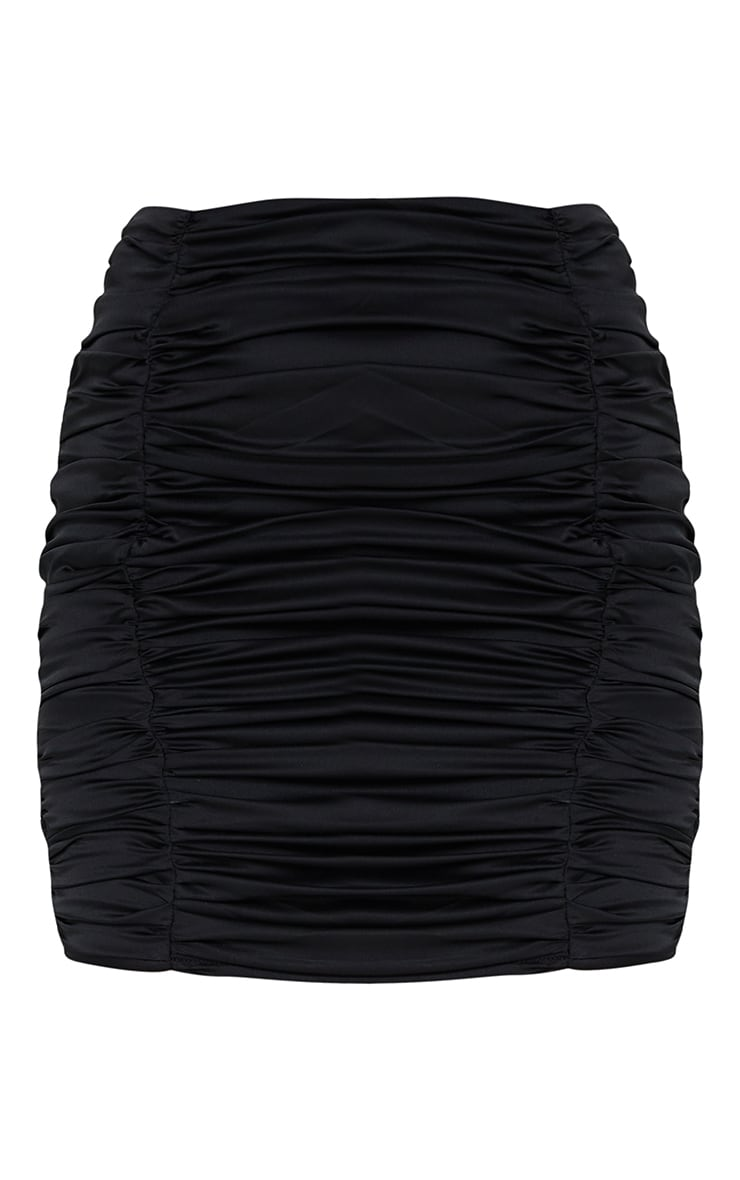 Petite Black Satin Ruched Skirt 6
