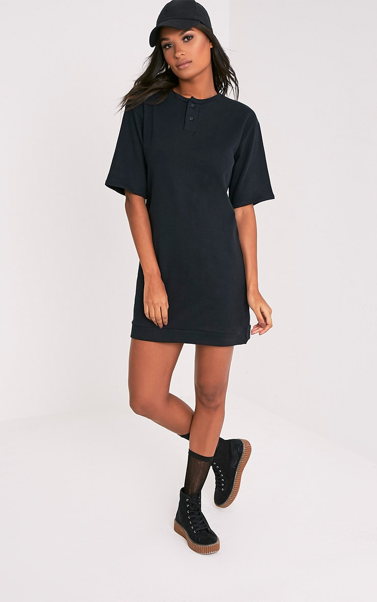 Anabelle Black Button Up Sweater Dress 1