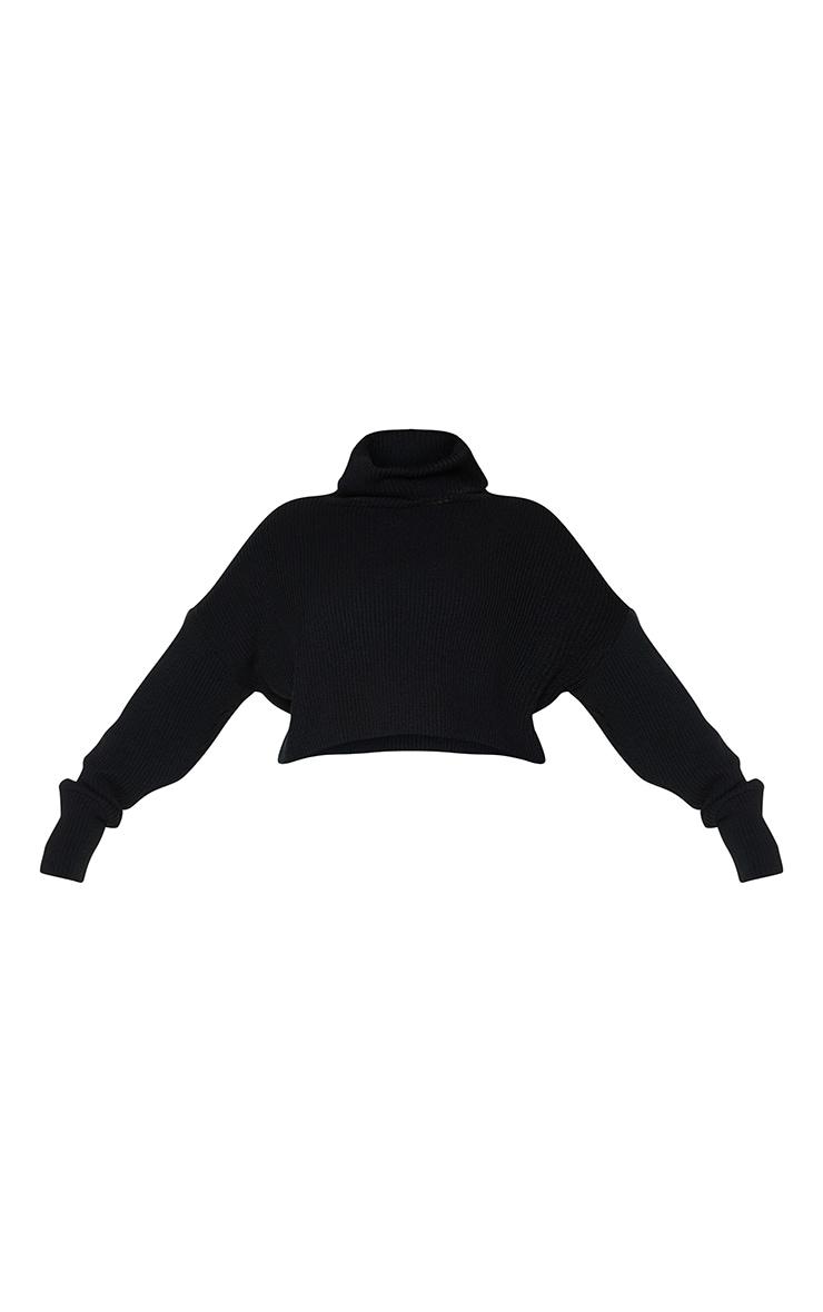 Plus Black Ribbed Knit High Neck Jumper 5