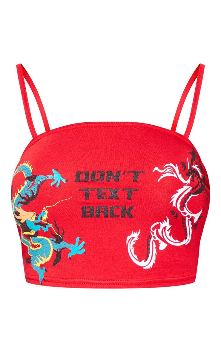 Red Dragon Printed Bandeau Crop Top 3
