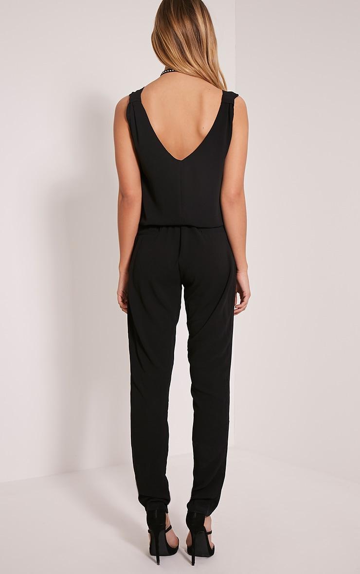 Jini Black Sleeveless Crepe Jumpsuit 2