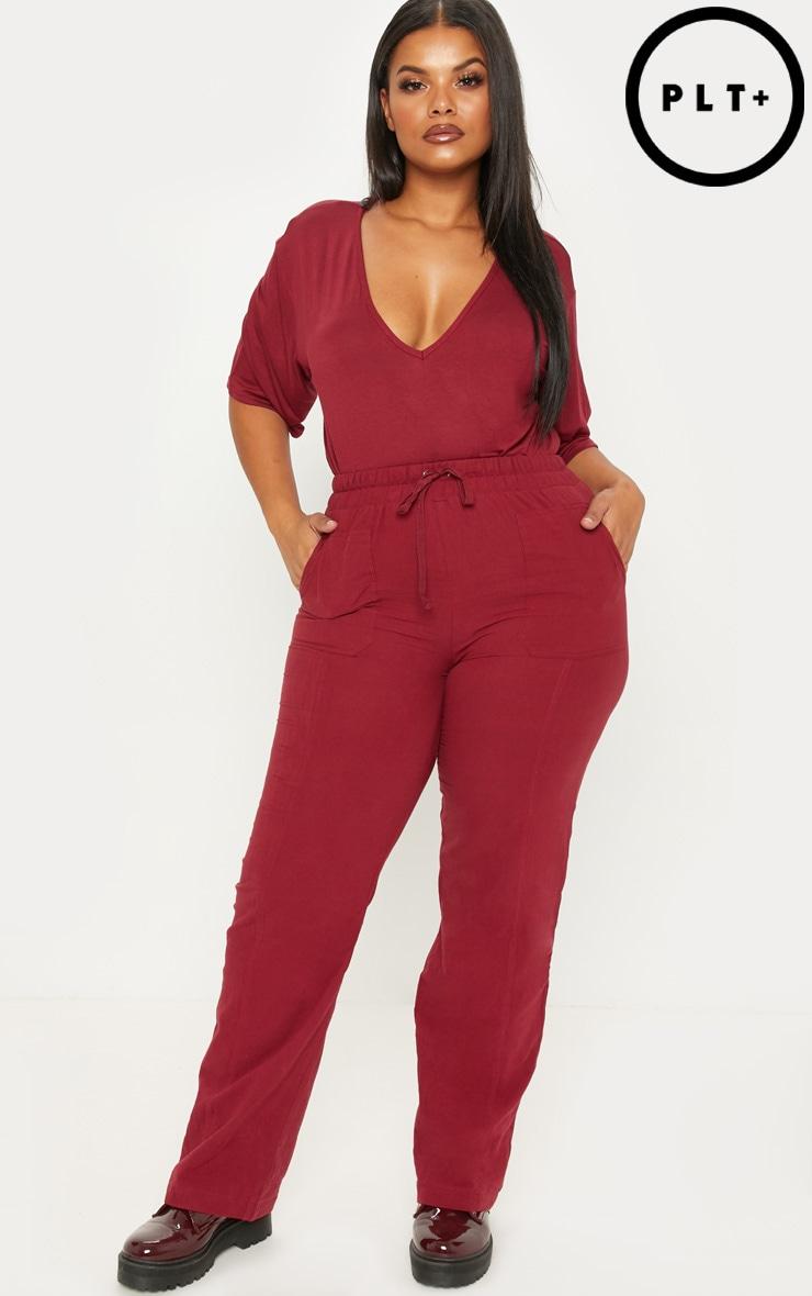 Plus Burgundy Pocket Detail Trousers 1