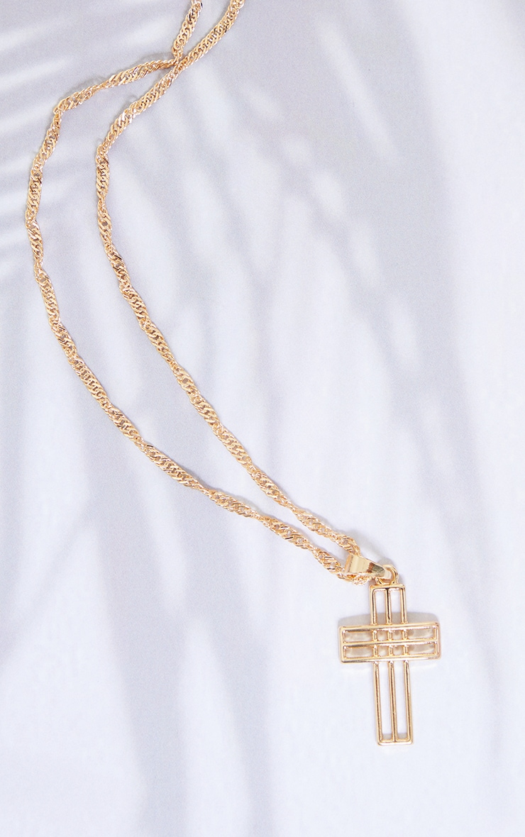 Gold Cut Out Cross Necklace 4