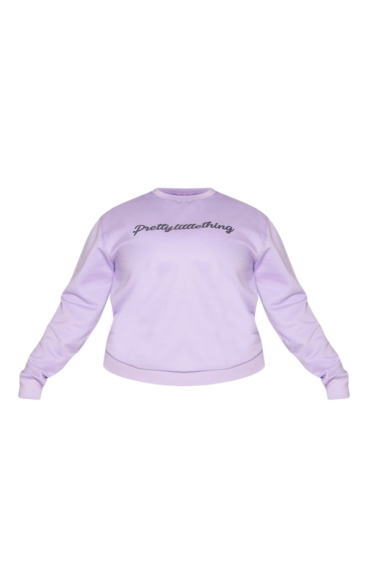 PRETTYLITTLETHING Plus Lilac Slogan Sweater 5