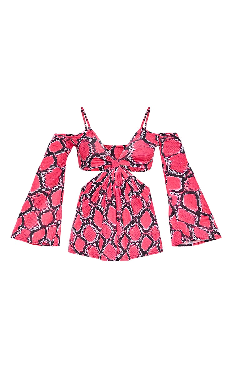 Plus Pink Snake Cut Out Playsuit 3