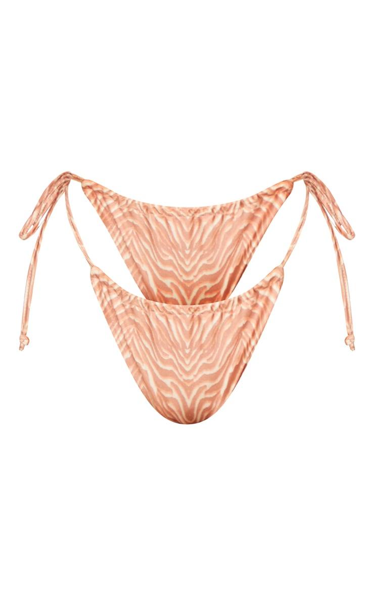 Plus Tan Zebra Print High Waist Bikini Bottom 5