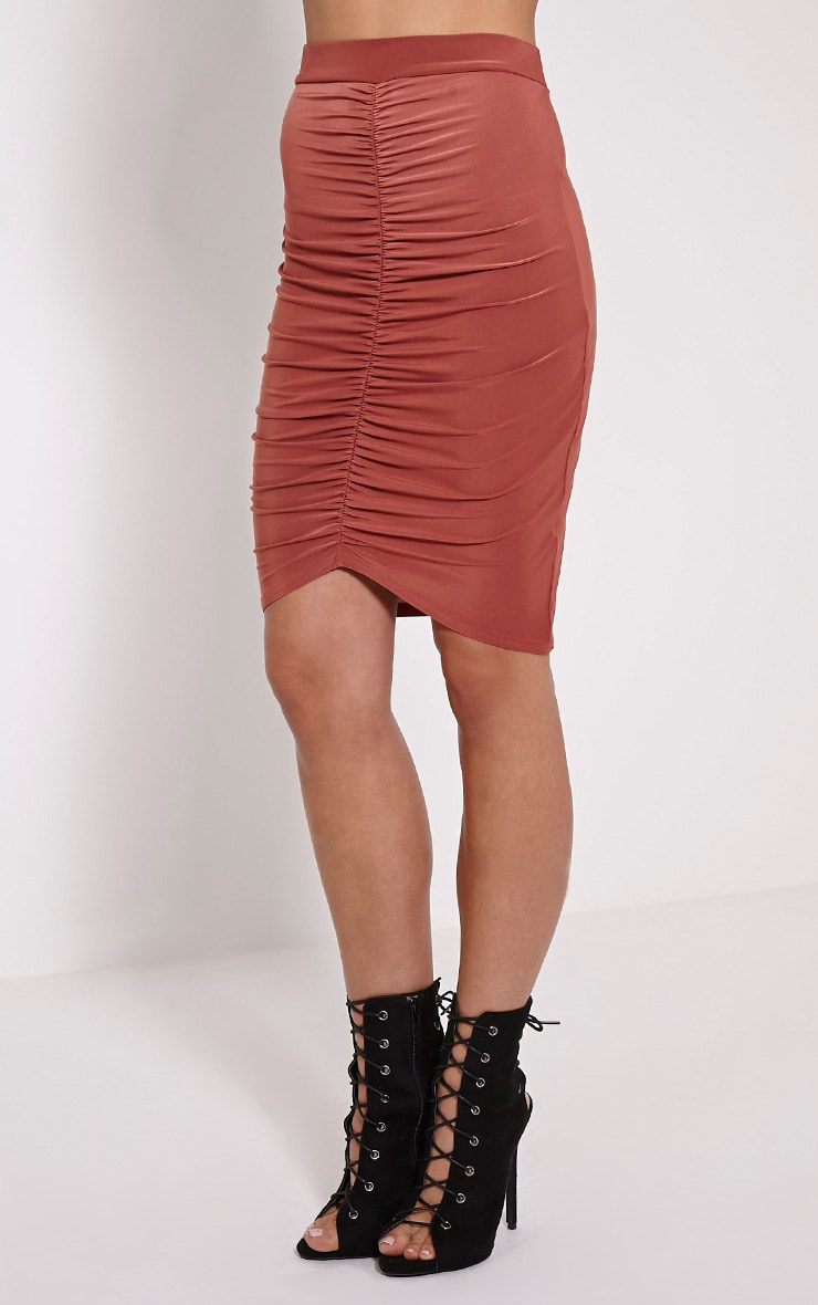 Darcia Dark Rose Ruched Front Midi Skirt 3