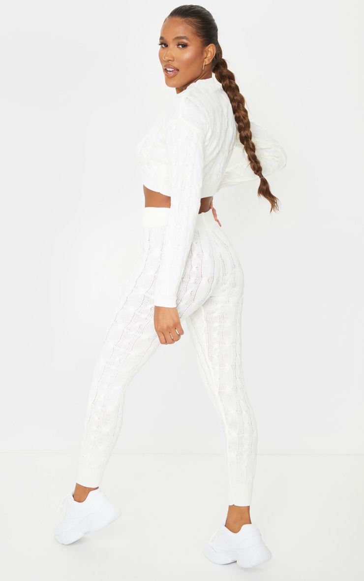 Cream Cable Knit Leggings And Sweater Set 2