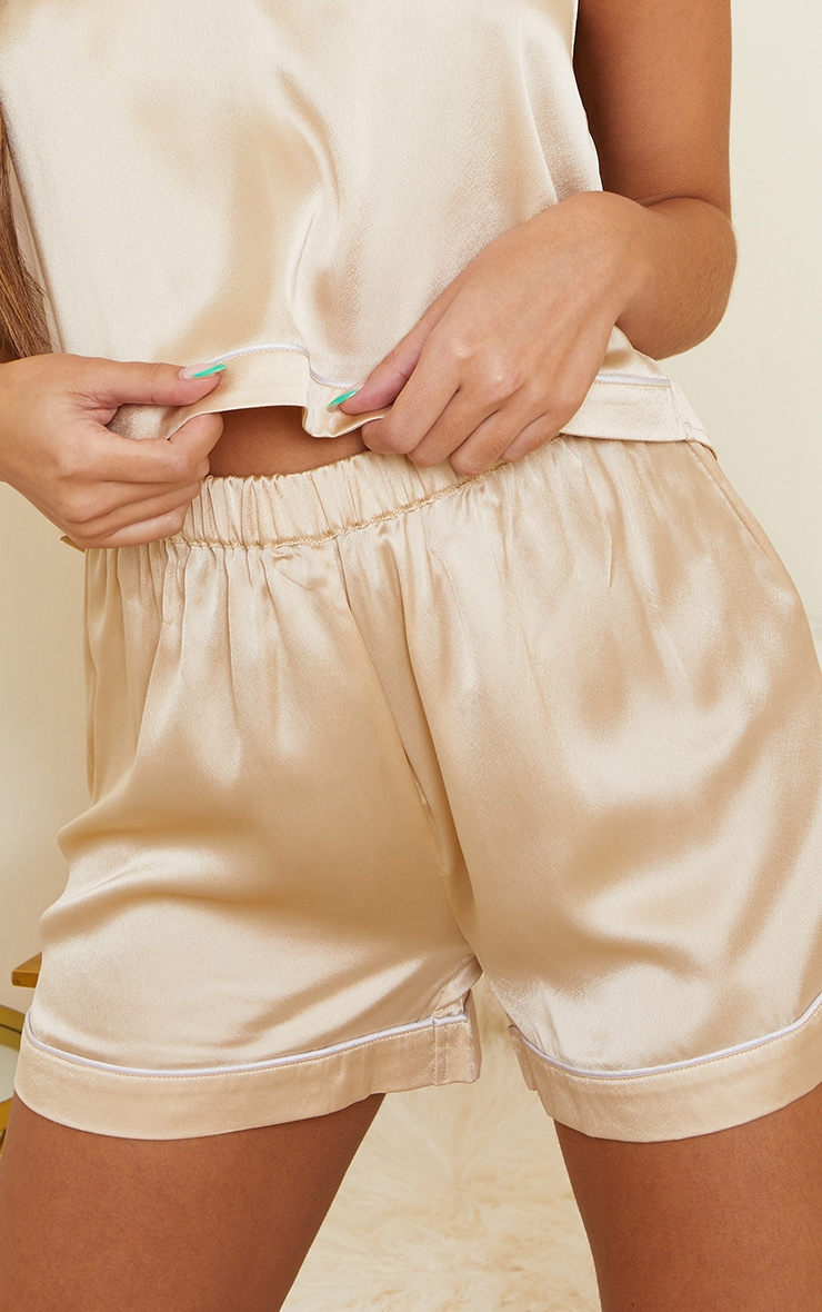 Champagne Mix And Match Piped Detail Satin PJ Shorts 5