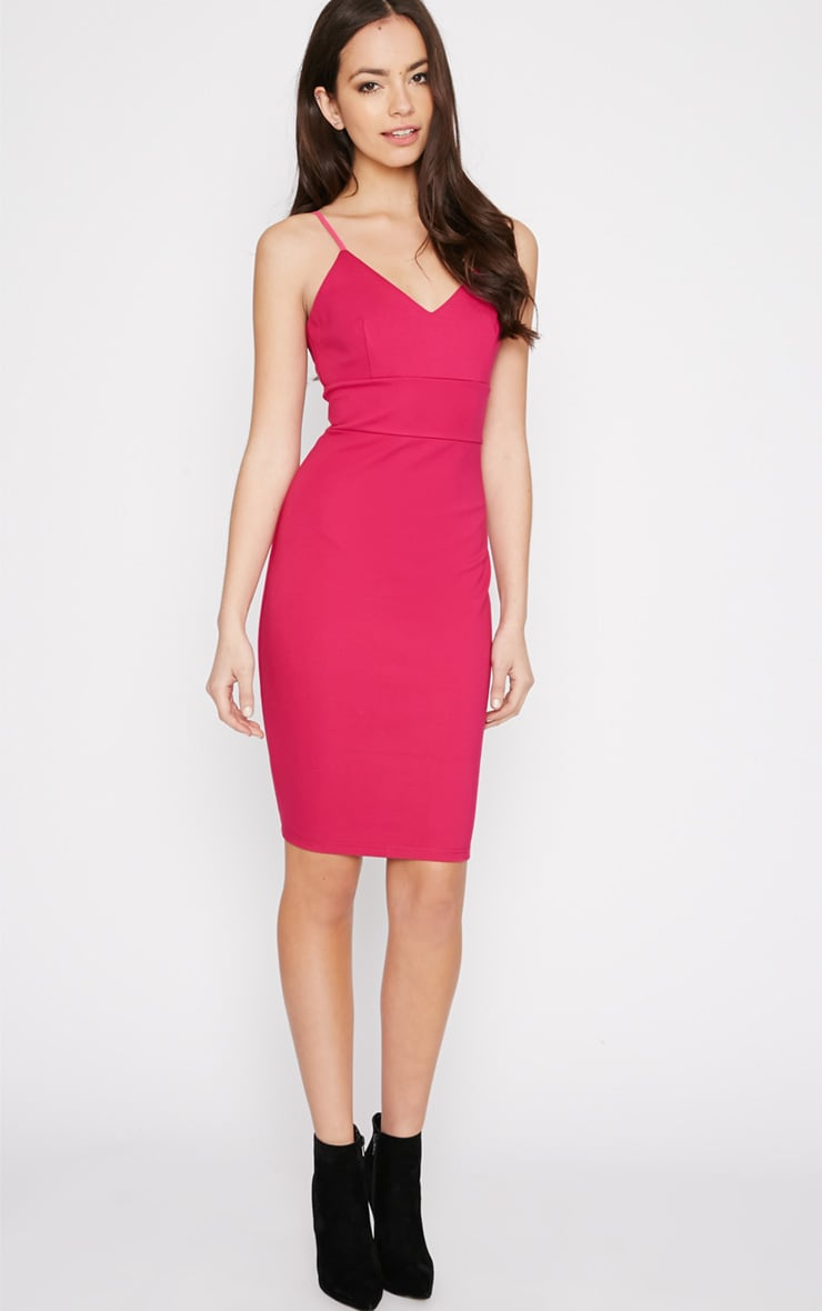 Zoey Hot Pink Strappy Bodycon Dress 4