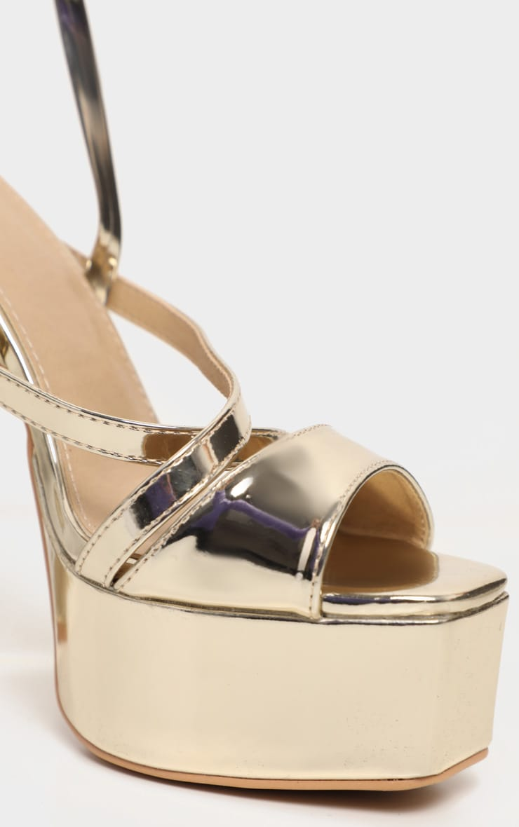 Gold Patent Double Platform Strappy Sandals 3