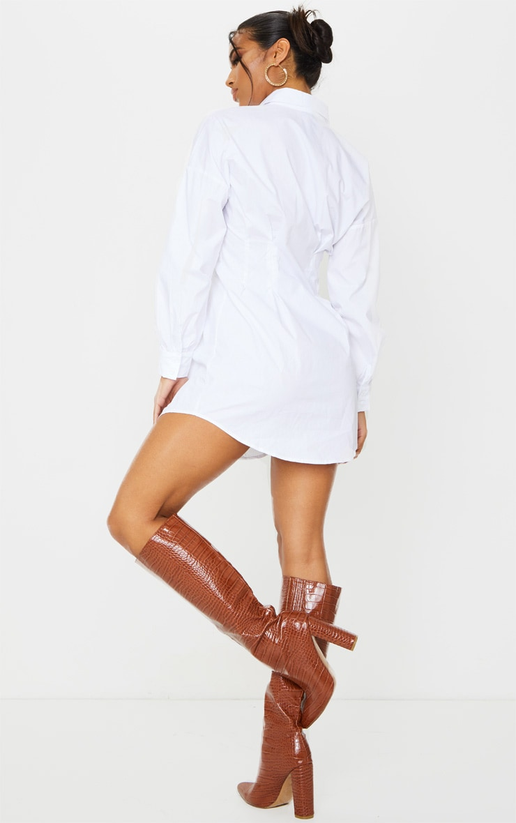 White Fitted Waist Long Sleeve Shirt Dress 2