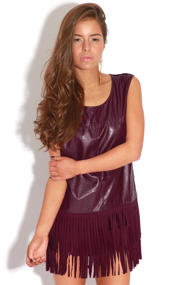 Jessica Burgundy PU Tassel Vest Dress 4
