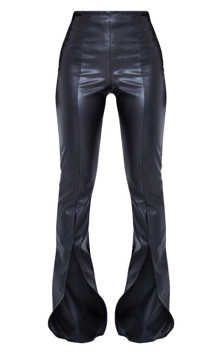 Black Faux Leather Seam Detail Split Hem Pants 6