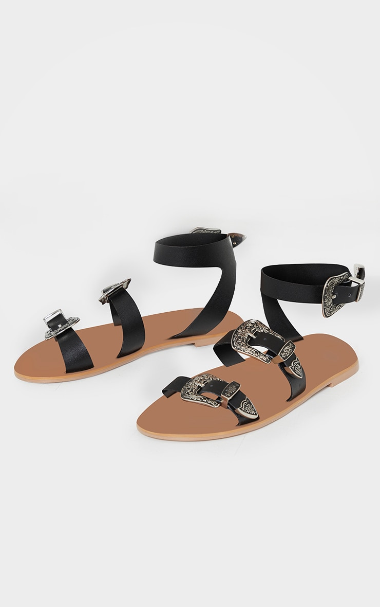 Black Western Buckle Leather Sandals 4