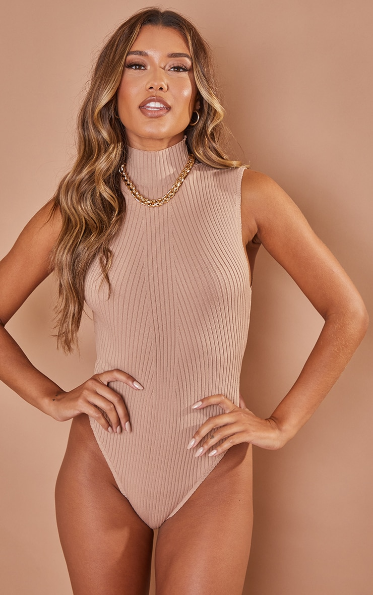 Nude Ribbed Knitted High Neck Bodysuit 2