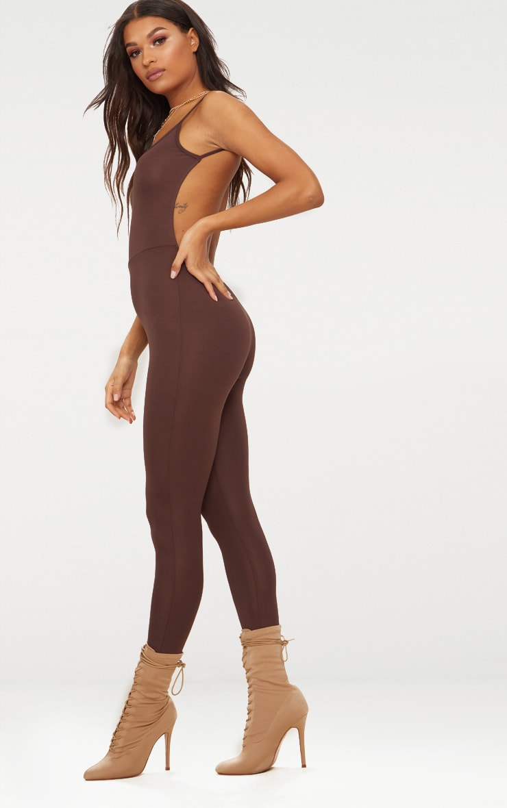 Chocolate Brown Scoop Neck Backless Jumpsuit  2