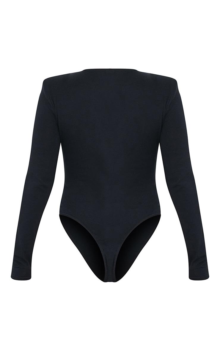 Black Cotton Mix Shoulder Pad Bodysuit 6