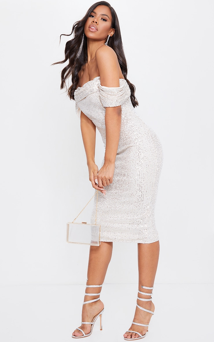 Silver Sequin Drape Bardot Midi Dress 1