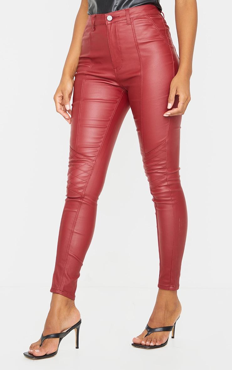 Red Biker Coated Skinny Jeans 2