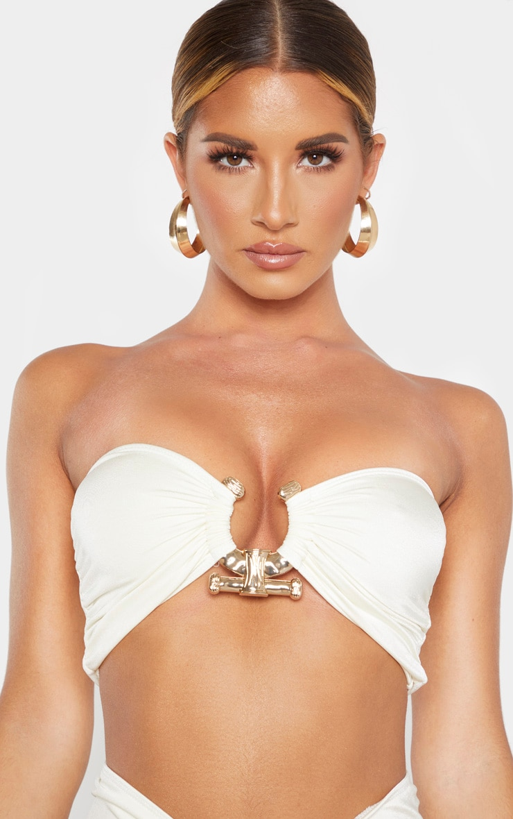 Cream Hammered Trim Bikini Top 5