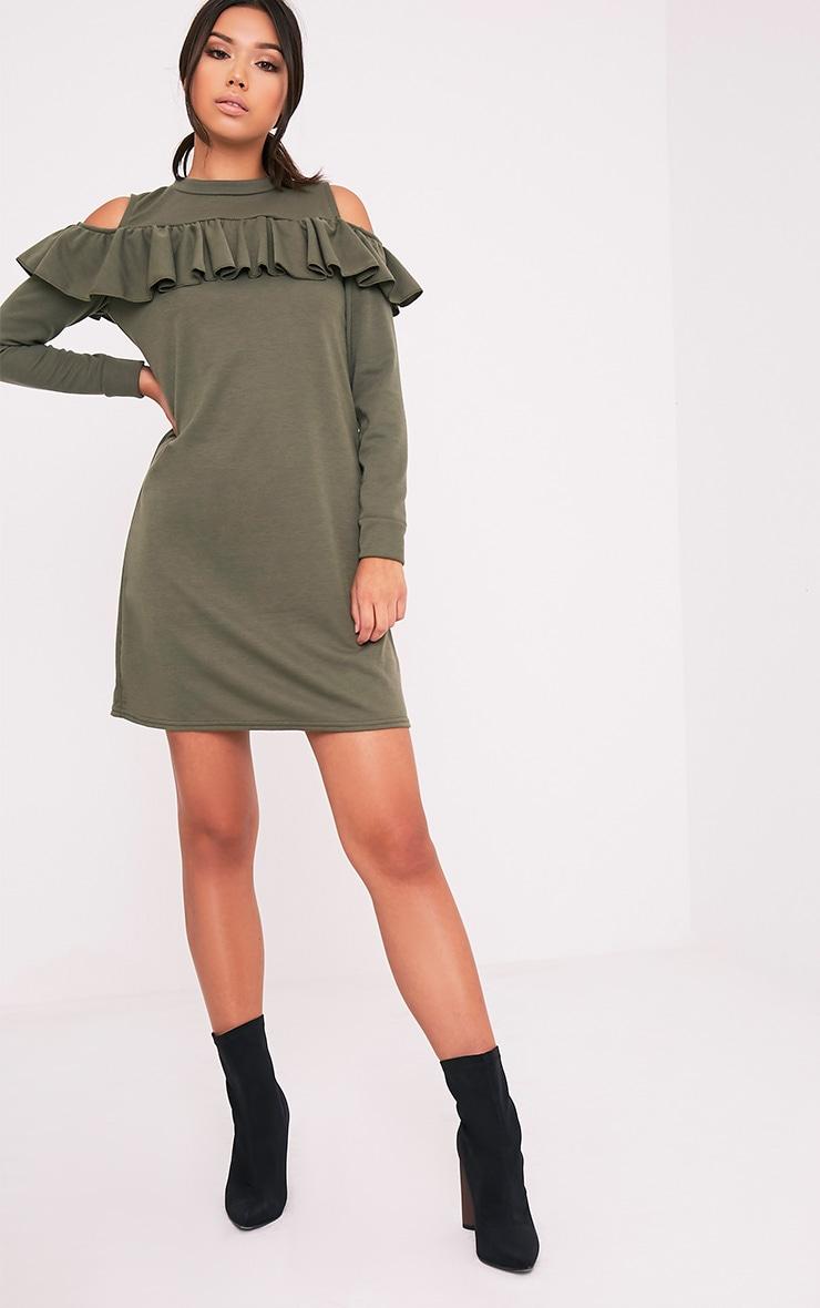 Bridy Khaki Cold Shoulder Sweater Dress 5