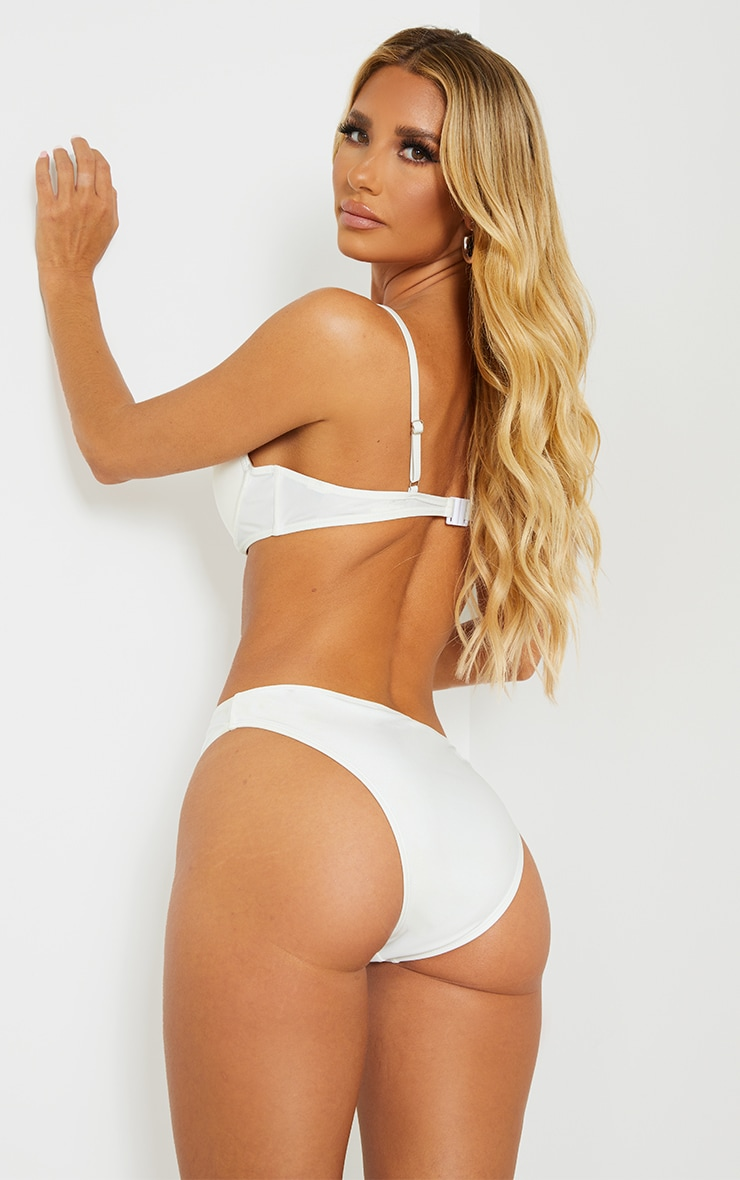 White Mix & Match Recycled Fabric Underwired Bikini Top 2