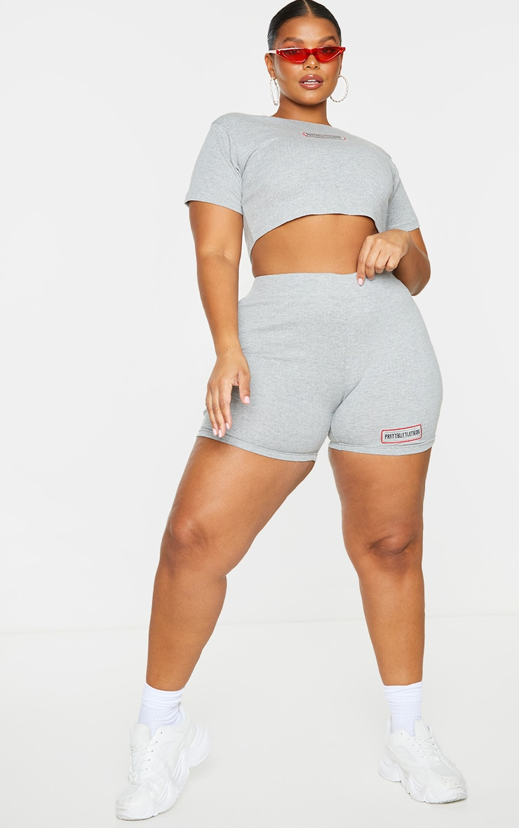 PRETTYLITTLETHING Plus Grey Ribbed Cycle Shorts 1