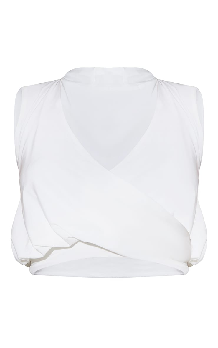 Cream Slinky Draped Detail Crop Top 5