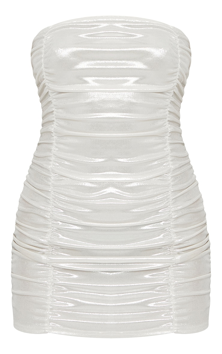 White Metallic Shimmer Ruched Bandeau Bodycon Dress 5