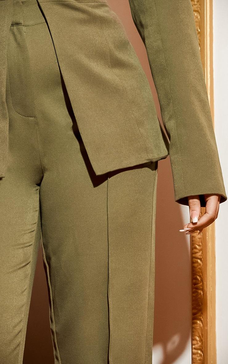 Khaki Wide Leg High Waist Trouser 6