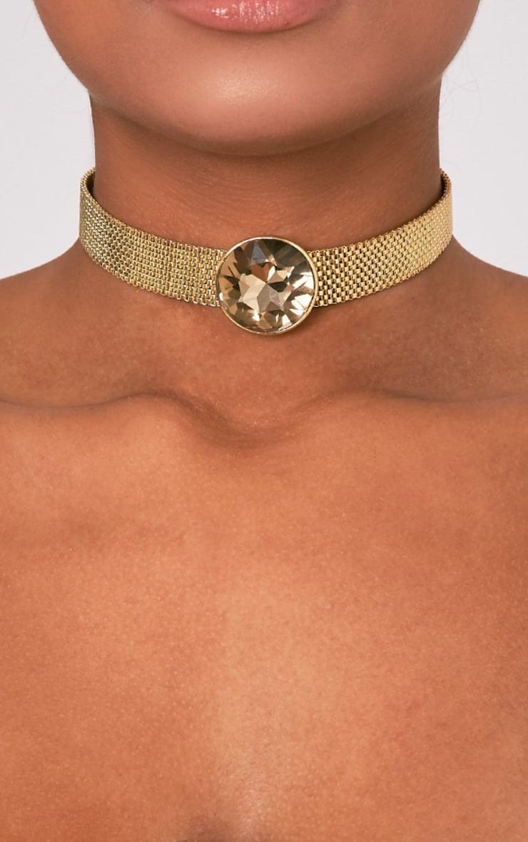 Indee Gold Big Jewel Choker 2