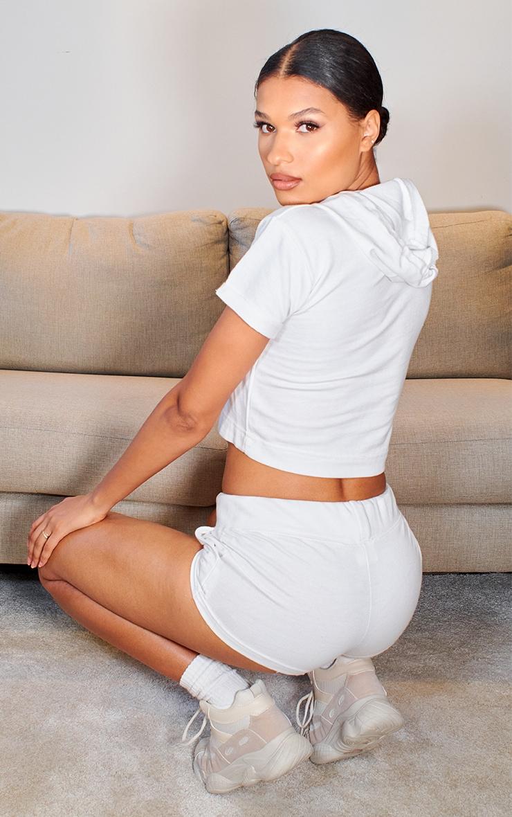White Short Sleeve Raw Edge Cropped Sweater 2