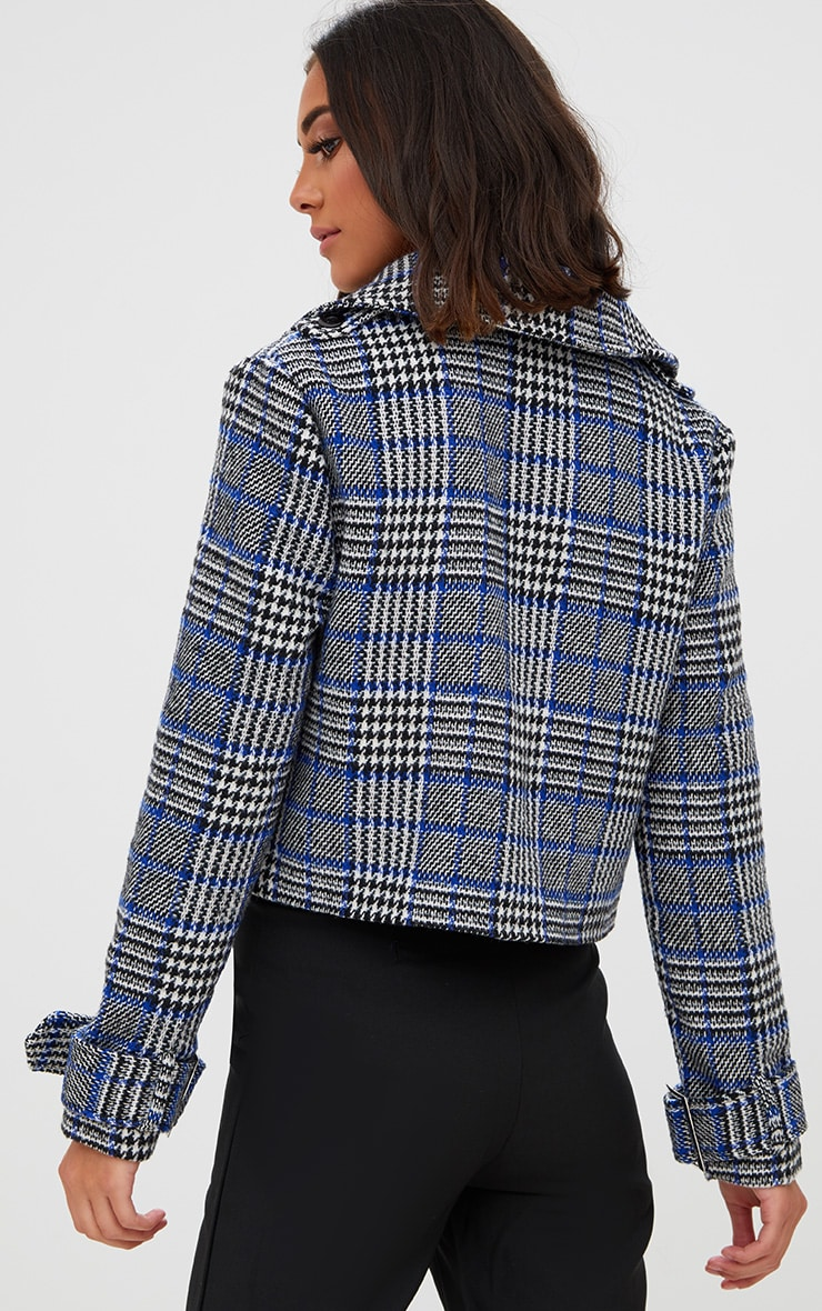 Grey Checked Cropped Jacket 2