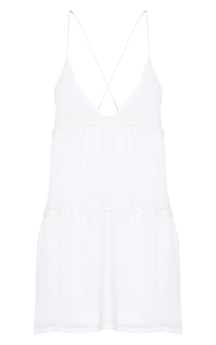 White Cheese Cloth Strappy Frill Shift Dress 3