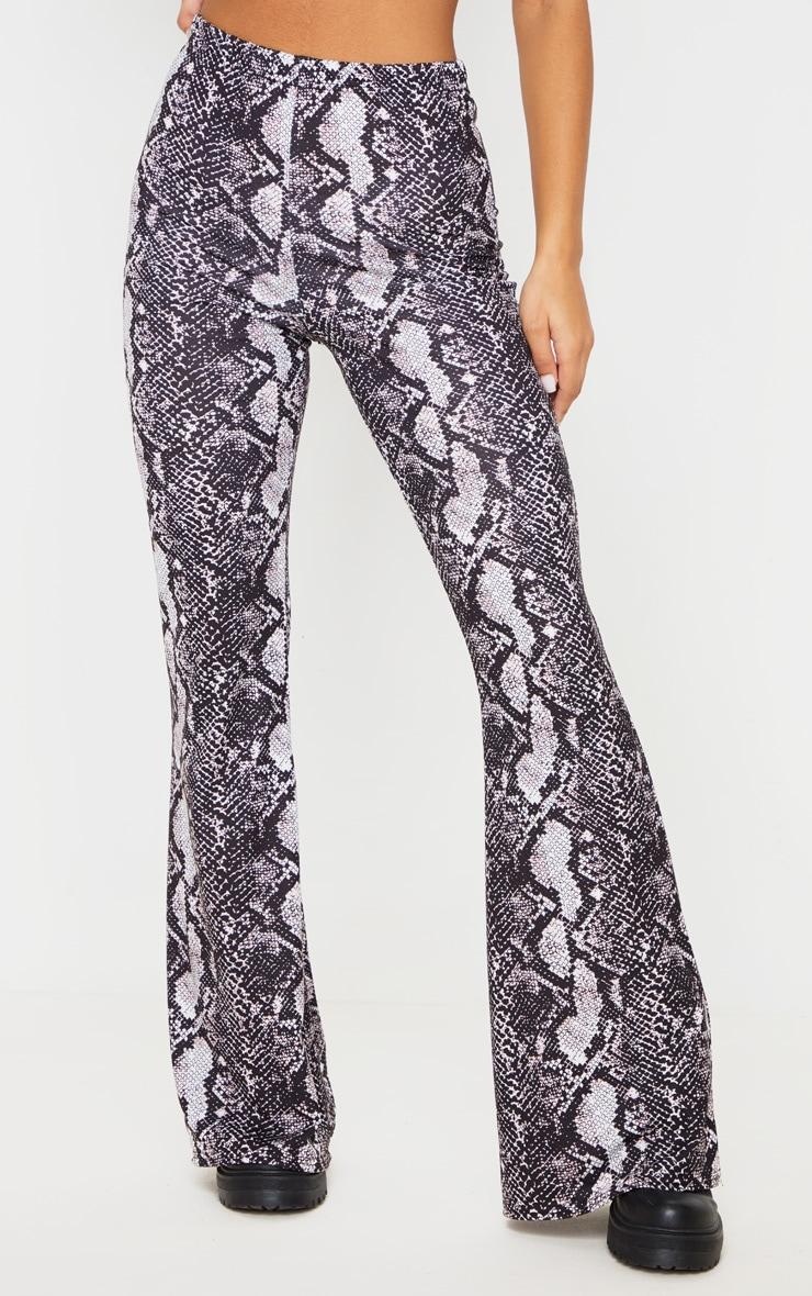 Snake Print Flare Leg Pants 2