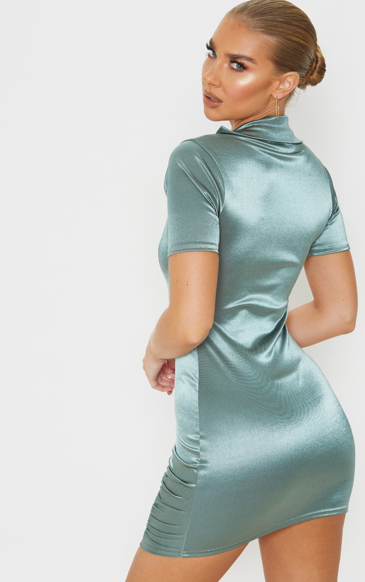 Green Satin Collar Detail Ruched Bodycon Dress 2
