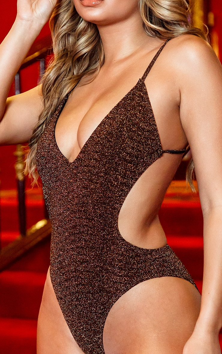 Brown Glitter Cut Out Swimsuit 4