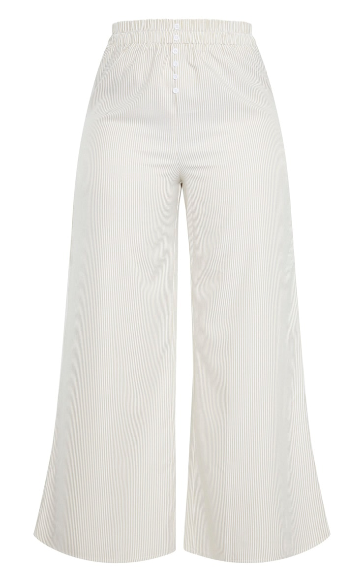 Plus Stone Striped Button Detail Wide Leg Pants  3