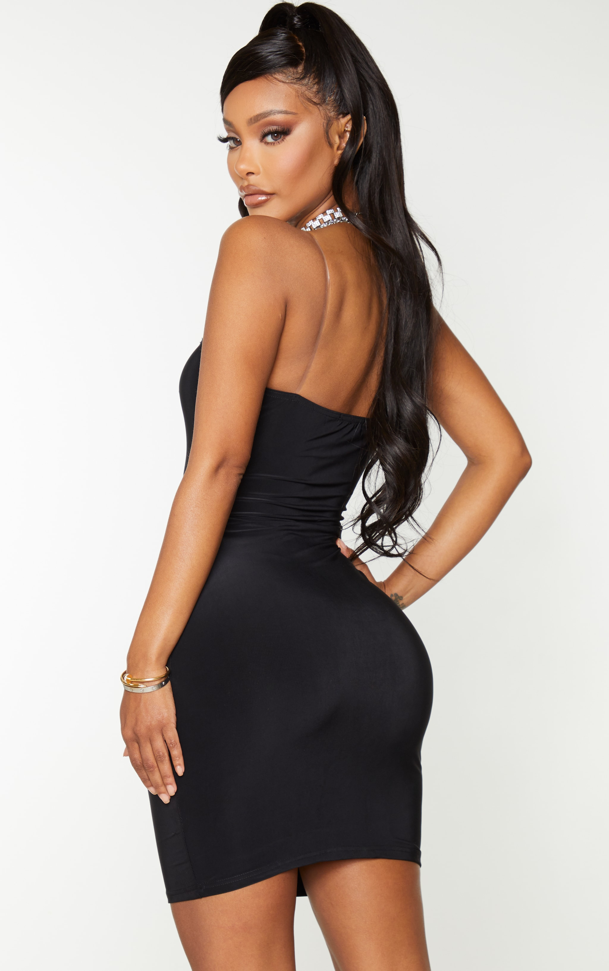 Shape Black Slinky Clear Strap Bodycon Dress 2